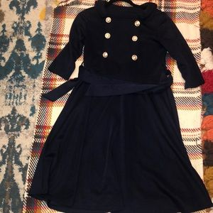 Navy blue fit and flare dress w/ military buttons